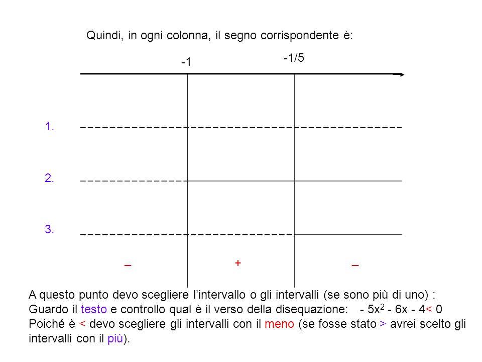Quindi, in ogni colonna, il segno corrispondente è: -1/5 1. 2. 3. A questo punto devo scegliere l'intervallo o gli intervalli (se sono più di uno) : G