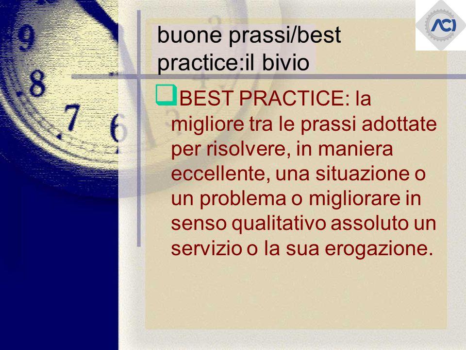 buone prassi/best practice:il bivio  BEST PRACTICE: la migliore tra le prassi adottate per risolvere, in maniera eccellente, una situazione o un problema o migliorare in senso qualitativo assoluto un servizio o la sua erogazione.