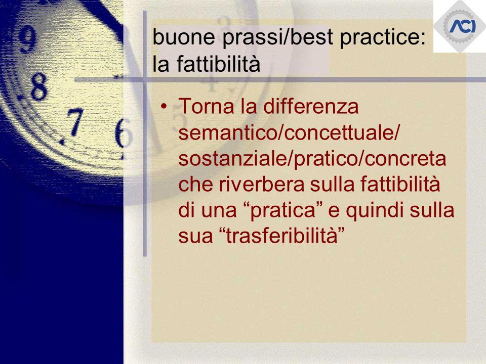 buone prassi/best practice: la fattibilità Torna la differenza semantico/concettuale/ sostanziale/pratico/concreta che riverbera sulla fattibilità di una pratica e quindi sulla sua trasferibilità