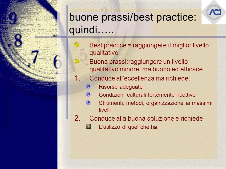 buone prassi/best practice: quindi…..