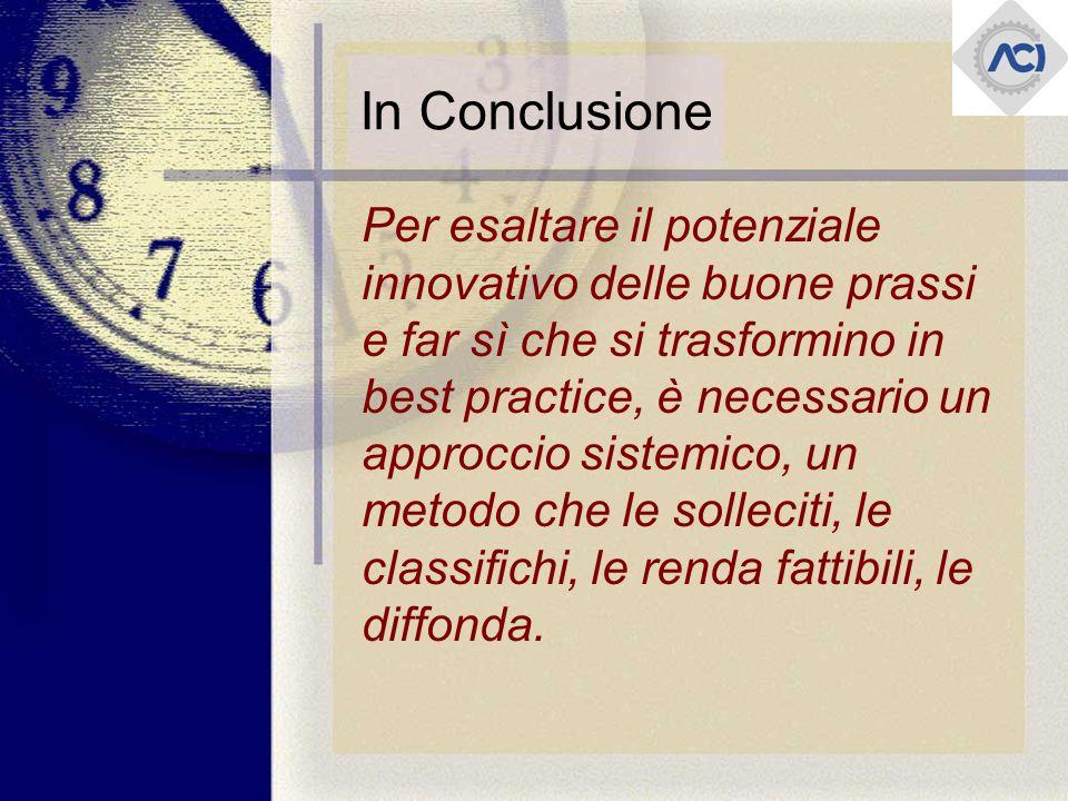 In Conclusione Per esaltare il potenziale innovativo delle buone prassi e far sì che si trasformino in best practice, è necessario un approccio sistemico, un metodo che le solleciti, le classifichi, le renda fattibili, le diffonda.