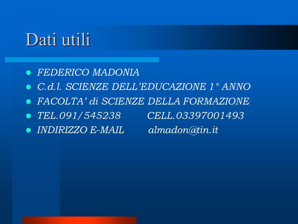 Dati utili FEDERICO MADONIA C.d.l. SCIENZE DELL'EDUCAZIONE 1° ANNO FACOLTA' di SCIENZE DELLA FORMAZIONE TEL.091/545238 CELL.03397001493 INDIRIZZO E-MA