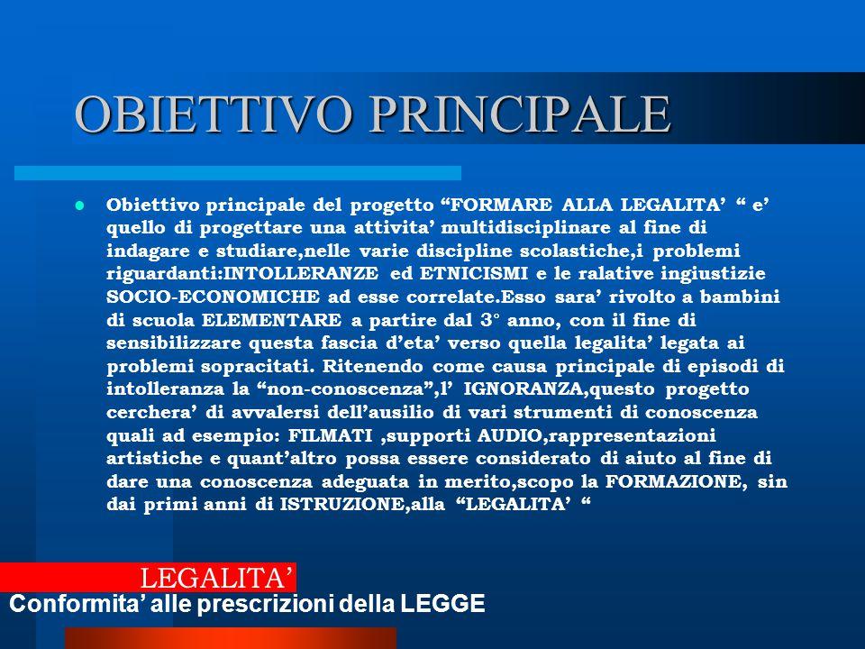 """OBIETTIVO PRINCIPALE Obiettivo principale del progetto """"FORMARE ALLA LEGALITA' """" e' quello di progettare una attivita' multidisciplinare al fine di in"""