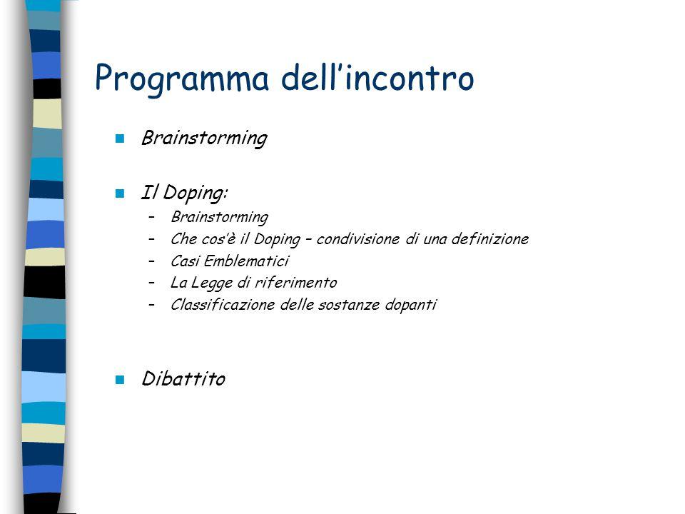 Programma dell'incontro Brainstorming Il Doping: –Brainstorming –Che cos'è il Doping – condivisione di una definizione –Casi Emblematici –La Legge di