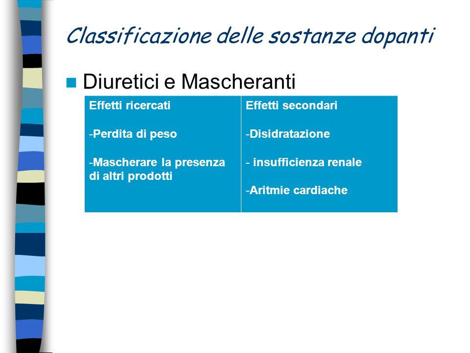 Classificazione delle sostanze dopanti Diuretici e Mascheranti Effetti ricercati -Perdita di peso -Mascherare la presenza di altri prodotti Effetti se