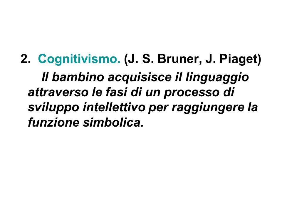 2. Cognitivismo. (J. S. Bruner, J. Piaget) Il bambino acquisisce il linguaggio attraverso le fasi di un processo di sviluppo intellettivo per raggiung