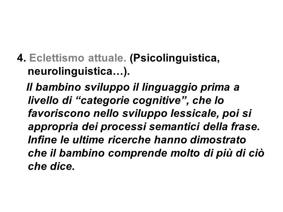 """4. Eclettismo attuale. (Psicolinguistica, neurolinguistica…). Il bambino sviluppo il linguaggio prima a livello di """"categorie cognitive"""", che lo favor"""
