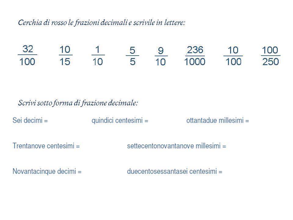 Cerchia di rosso le frazioni decimali e scrivile in lettere: Scrivi sotto forma di frazione decimale: