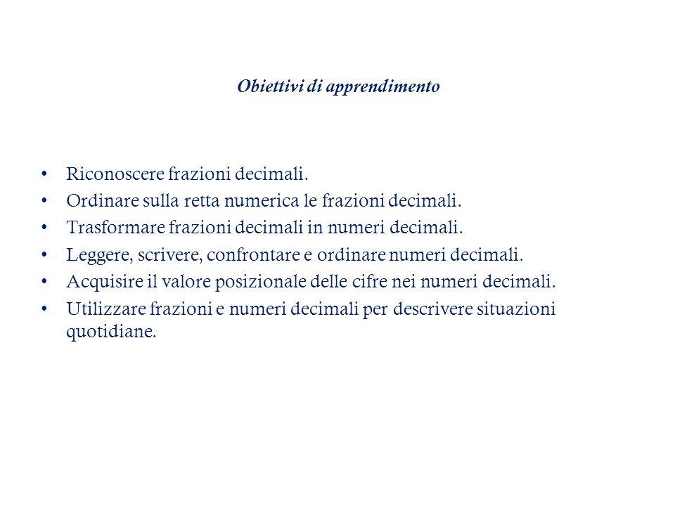 Obiettivi di apprendimento Riconoscere frazioni decimali.