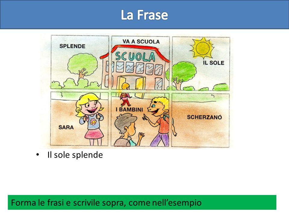 Il sole splende Forma le frasi e scrivile sopra, come nell'esempio