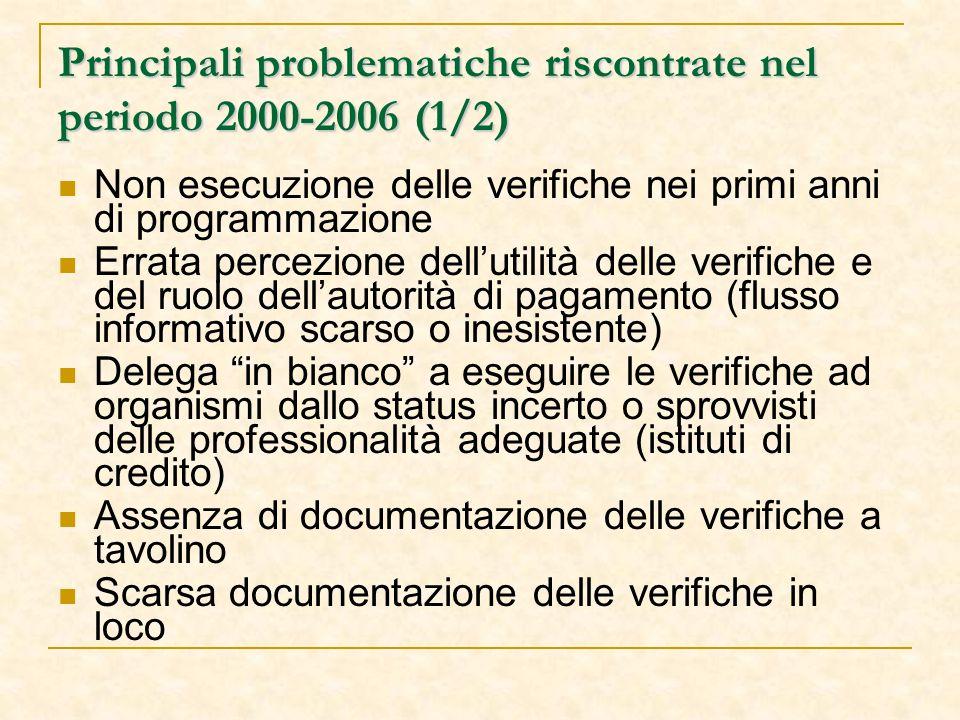 Principali problematiche riscontrate nel periodo 2000-2006 (1/2) Non esecuzione delle verifiche nei primi anni di programmazione Errata percezione dell'utilità delle verifiche e del ruolo dell'autorità di pagamento (flusso informativo scarso o inesistente) Delega in bianco a eseguire le verifiche ad organismi dallo status incerto o sprovvisti delle professionalità adeguate (istituti di credito) Assenza di documentazione delle verifiche a tavolino Scarsa documentazione delle verifiche in loco