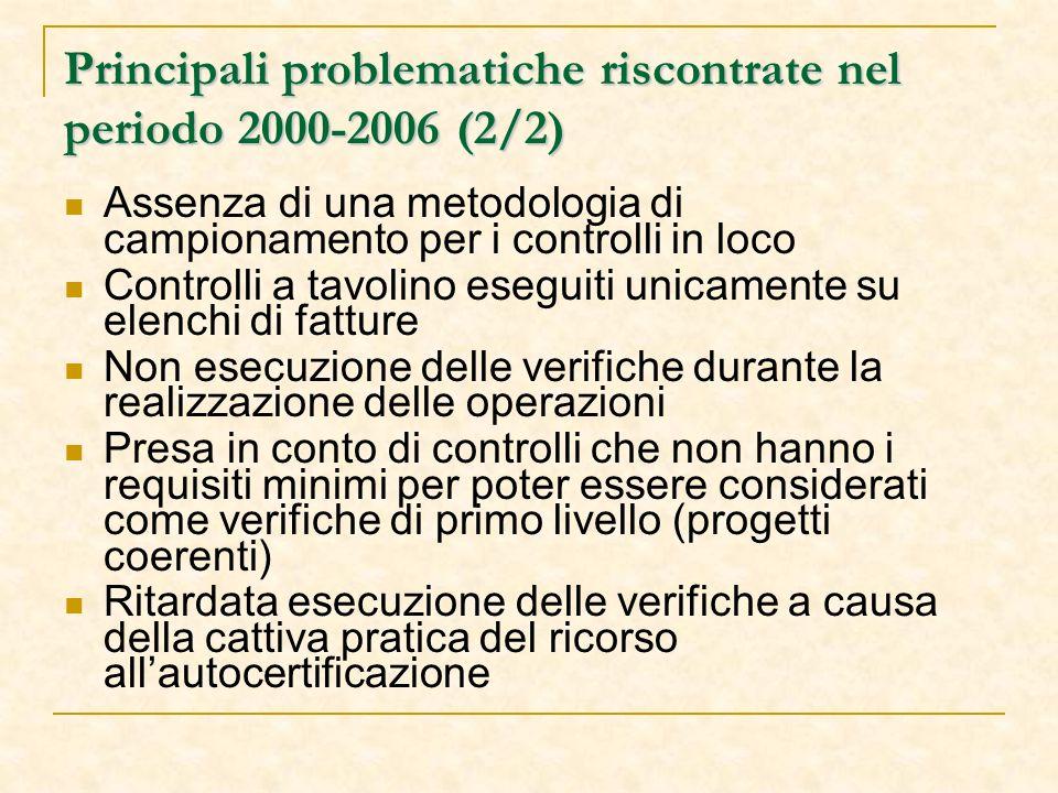 Principali problematiche riscontrate nel periodo 2000-2006 (2/2) Assenza di una metodologia di campionamento per i controlli in loco Controlli a tavolino eseguiti unicamente su elenchi di fatture Non esecuzione delle verifiche durante la realizzazione delle operazioni Presa in conto di controlli che non hanno i requisiti minimi per poter essere considerati come verifiche di primo livello (progetti coerenti) Ritardata esecuzione delle verifiche a causa della cattiva pratica del ricorso all'autocertificazione