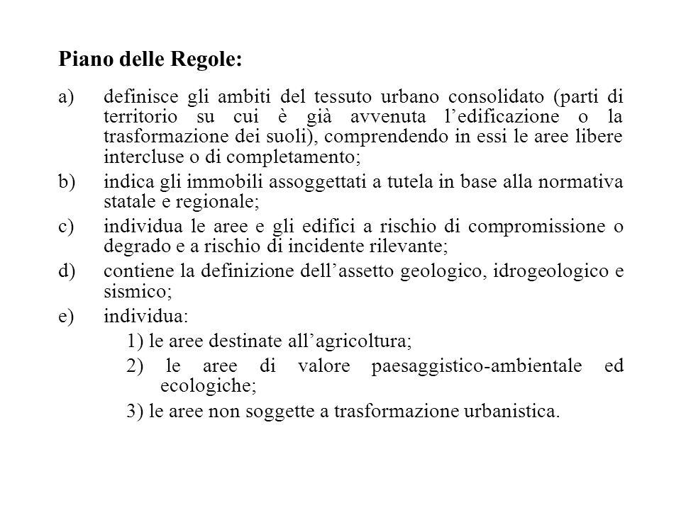 Piano delle Regole: a)definisce gli ambiti del tessuto urbano consolidato (parti di territorio su cui è già avvenuta l'edificazione o la trasformazion