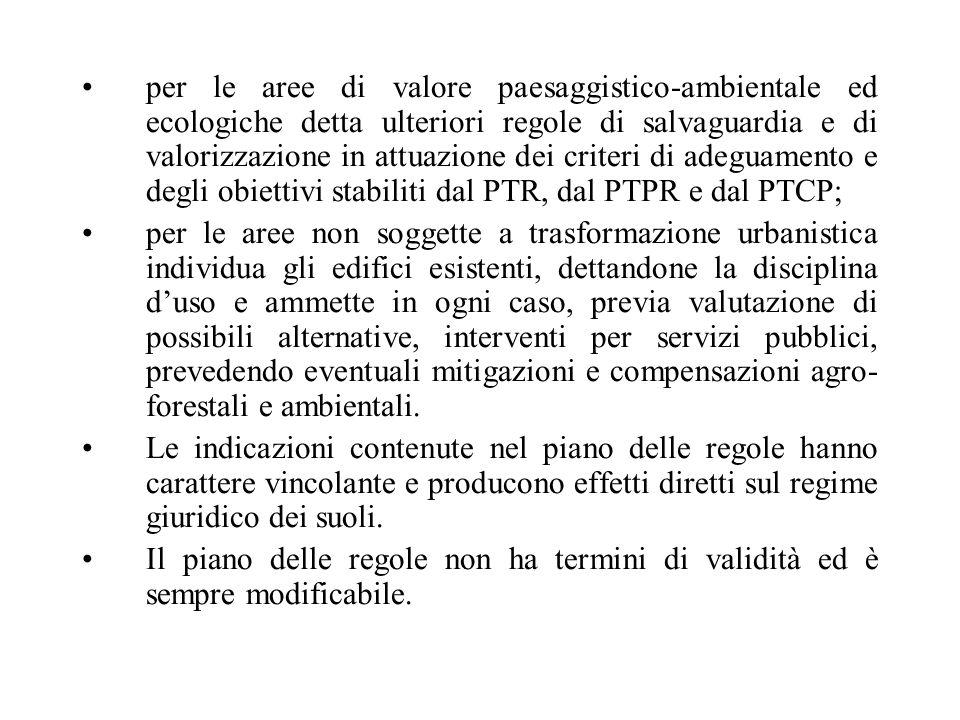per le aree di valore paesaggistico-ambientale ed ecologiche detta ulteriori regole di salvaguardia e di valorizzazione in attuazione dei criteri di a