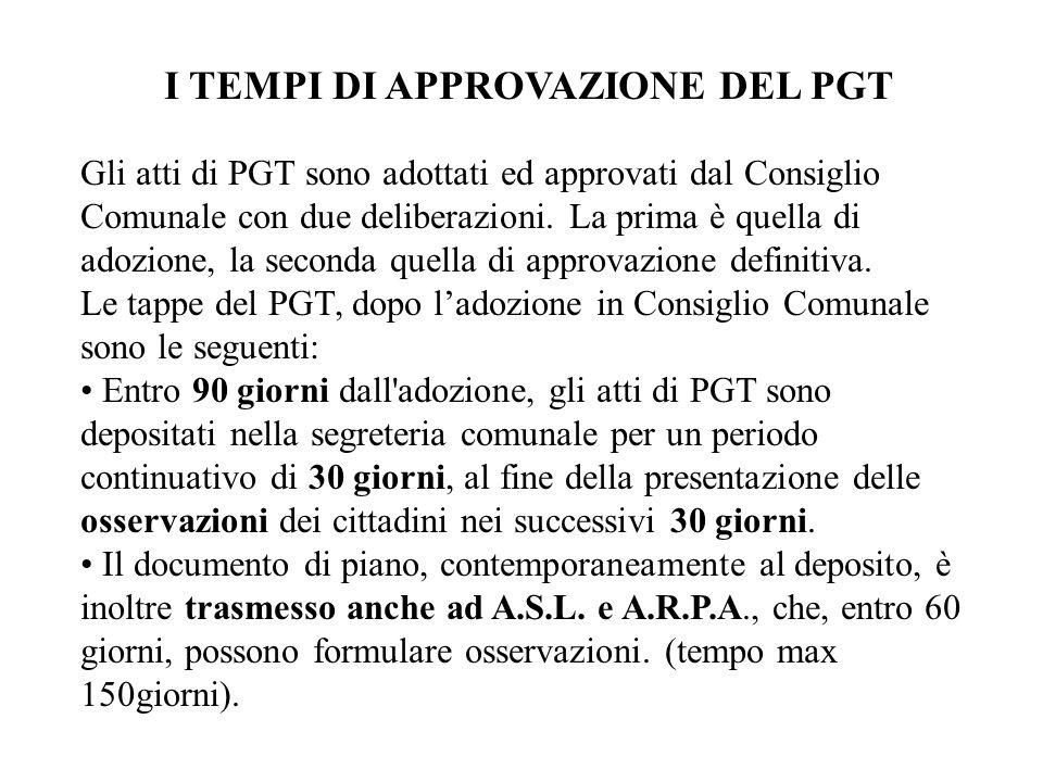 I TEMPI DI APPROVAZIONE DEL PGT Gli atti di PGT sono adottati ed approvati dal Consiglio Comunale con due deliberazioni. La prima è quella di adozione