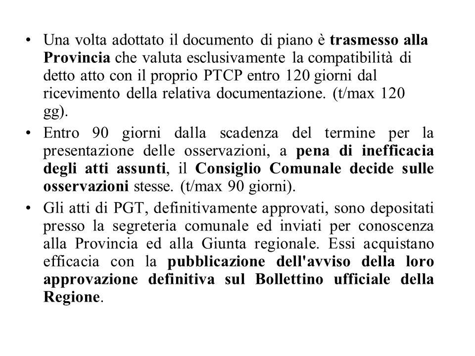 Una volta adottato il documento di piano è trasmesso alla Provincia che valuta esclusivamente la compatibilità di detto atto con il proprio PTCP entro 120 giorni dal ricevimento della relativa documentazione.
