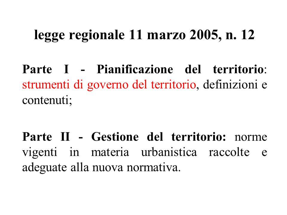 legge regionale 11 marzo 2005, n. 12 Parte I - Pianificazione del territorio: strumenti di governo del territorio, definizioni e contenuti; Parte II -