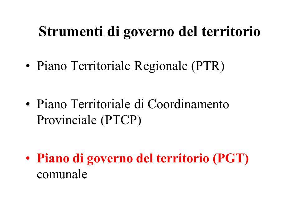 Strumenti di governo del territorio Piano Territoriale Regionale (PTR) Piano Territoriale di Coordinamento Provinciale (PTCP) Piano di governo del territorio (PGT) comunale
