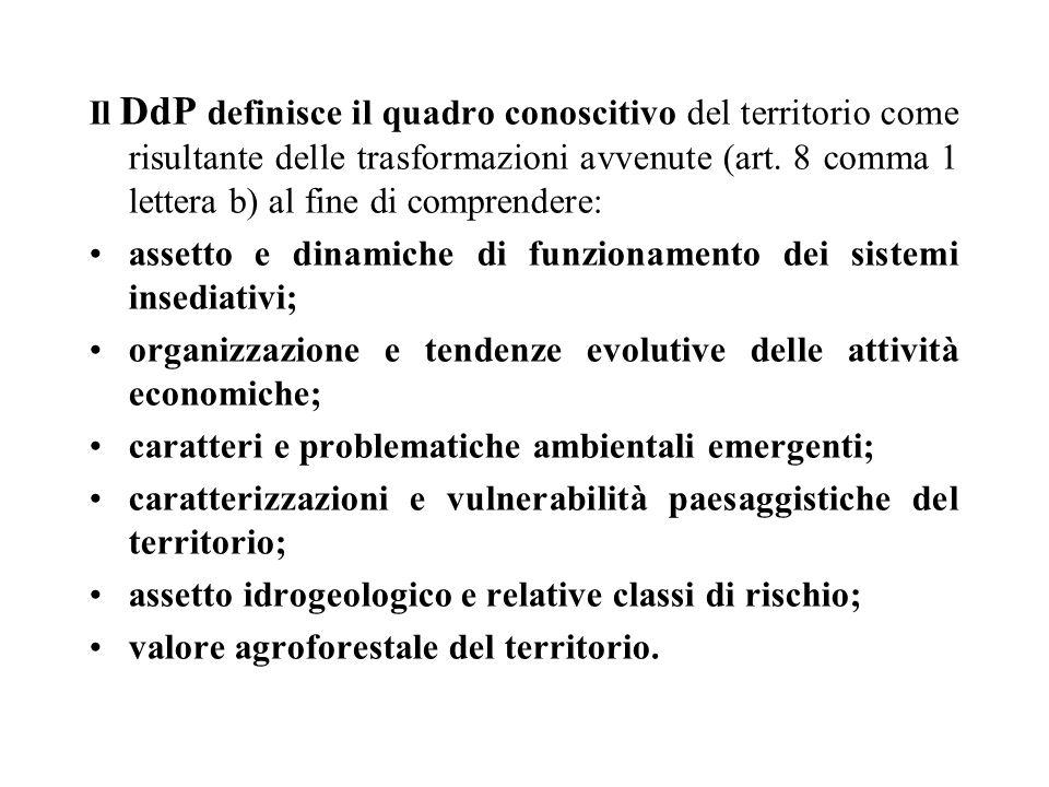 Il DdP definisce il quadro conoscitivo del territorio come risultante delle trasformazioni avvenute (art. 8 comma 1 lettera b) al fine di comprendere:
