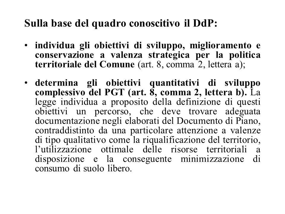 Sulla base del quadro conoscitivo il DdP: individua gli obiettivi di sviluppo, miglioramento e conservazione a valenza strategica per la politica territoriale del Comune (art.