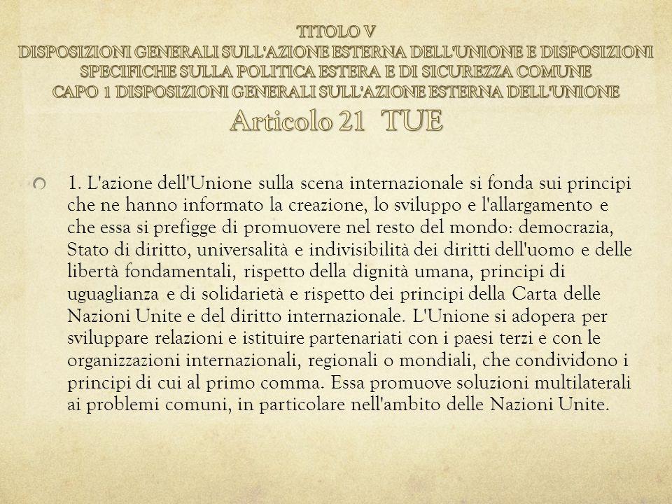 1. L'azione dell'Unione sulla scena internazionale si fonda sui principi che ne hanno informato la creazione, lo sviluppo e l'allargamento e che essa