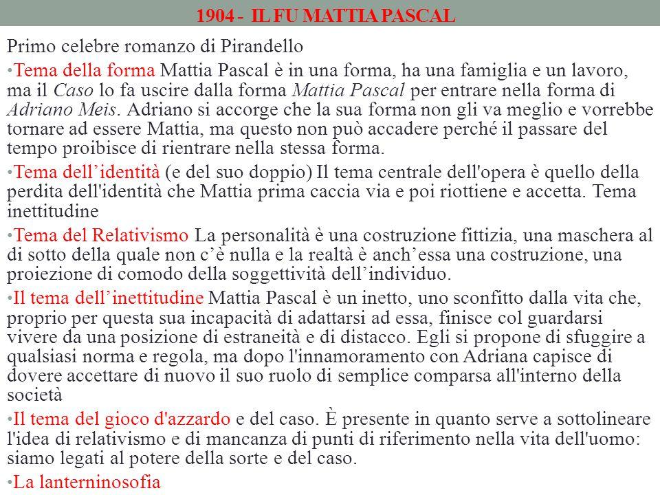 1904 - IL FU MATTIA PASCAL Primo celebre romanzo di Pirandello Tema della forma Mattia Pascal è in una forma, ha una famiglia e un lavoro, ma il Caso lo fa uscire dalla forma Mattia Pascal per entrare nella forma di Adriano Meis.
