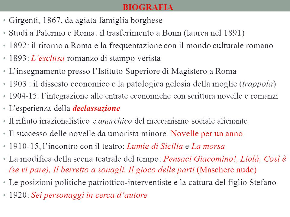 BIOGRAFIA Girgenti, 1867, da agiata famiglia borghese Studi a Palermo e Roma: il trasferimento a Bonn (laurea nel 1891) 1892: il ritorno a Roma e la f