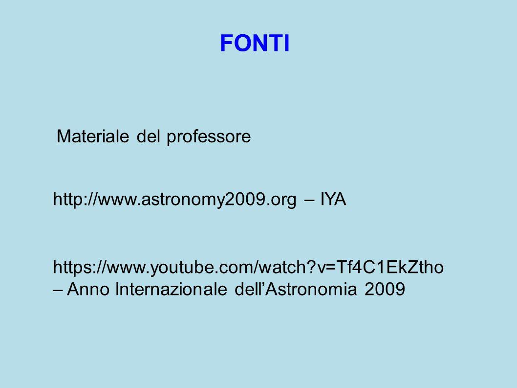 https://www.youtube.com/watch v=Tf4C1EkZtho – Anno Internazionale dell'Astronomia 2009 http://www.astronomy2009.org – IYA FONTI Materiale del professore