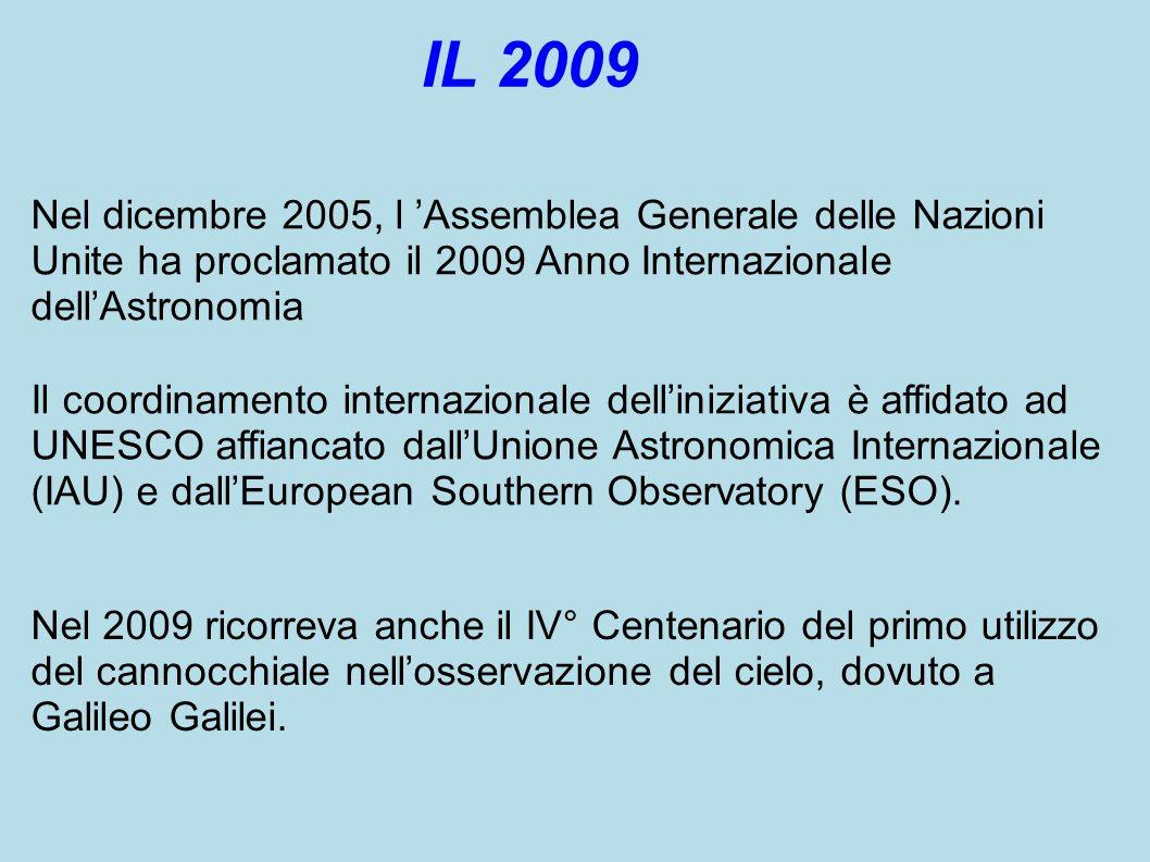 Nel dicembre 2005, l 'Assemblea Generale delle Nazioni Unite ha proclamato il 2009 Anno Internazionale dell'Astronomia Il coordinamento internazionale dell'iniziativa è affidato ad UNESCO affiancato dall'Unione Astronomica Internazionale (IAU) e dall'European Southern Observatory (ESO).
