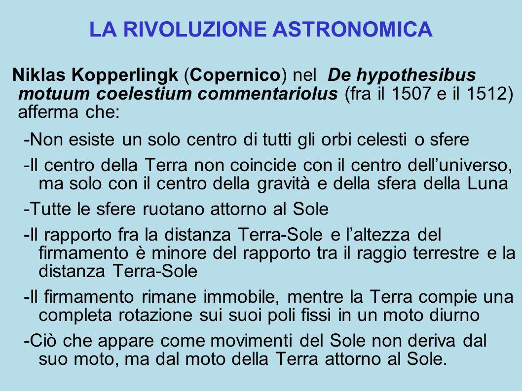 LA RIVOLUZIONE ASTRONOMICA Niklas Kopperlingk (Copernico) nel De hypothesibus motuum coelestium commentariolus (fra il 1507 e il 1512) afferma che: -Non esiste un solo centro di tutti gli orbi celesti o sfere -Il centro della Terra non coincide con il centro dell'universo, ma solo con il centro della gravità e della sfera della Luna -Tutte le sfere ruotano attorno al Sole -Il rapporto fra la distanza Terra-Sole e l'altezza del firmamento è minore del rapporto tra il raggio terrestre e la distanza Terra-Sole -Il firmamento rimane immobile, mentre la Terra compie una completa rotazione sui suoi poli fissi in un moto diurno -Ciò che appare come movimenti del Sole non deriva dal suo moto, ma dal moto della Terra attorno al Sole.