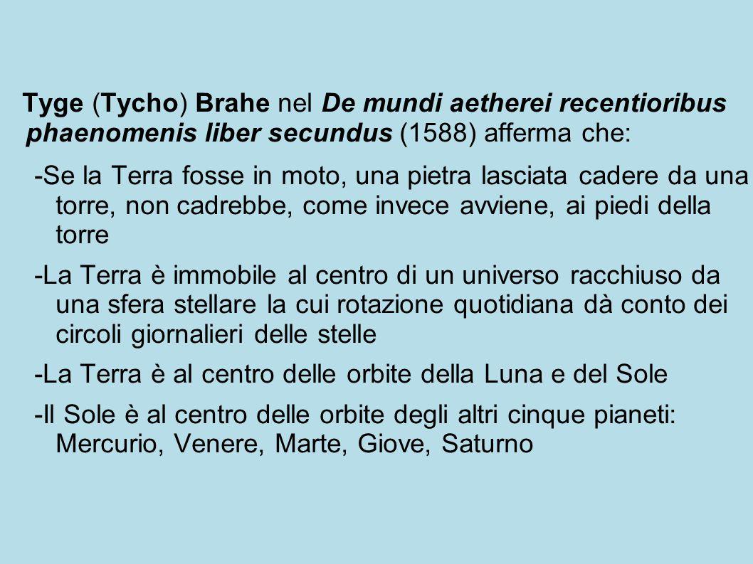 Tyge (Tycho) Brahe nel De mundi aetherei recentioribus phaenomenis liber secundus (1588) afferma che: -Se la Terra fosse in moto, una pietra lasciata cadere da una torre, non cadrebbe, come invece avviene, ai piedi della torre -La Terra è immobile al centro di un universo racchiuso da una sfera stellare la cui rotazione quotidiana dà conto dei circoli giornalieri delle stelle -La Terra è al centro delle orbite della Luna e del Sole -Il Sole è al centro delle orbite degli altri cinque pianeti: Mercurio, Venere, Marte, Giove, Saturno