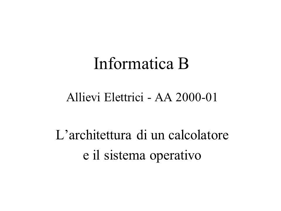 Informatica B Allievi Elettrici - AA 2000-01 L'architettura di un calcolatore e il sistema operativo