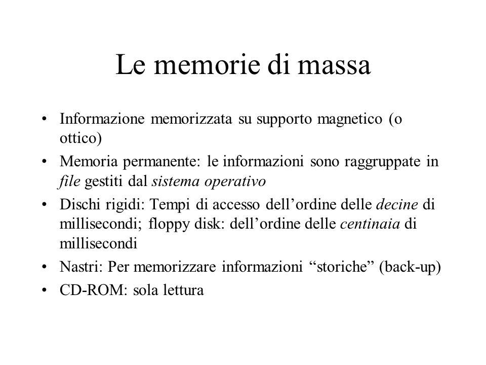Le memorie di massa Informazione memorizzata su supporto magnetico (o ottico) Memoria permanente: le informazioni sono raggruppate in file gestiti dal sistema operativo Dischi rigidi: Tempi di accesso dell'ordine delle decine di millisecondi; floppy disk: dell'ordine delle centinaia di millisecondi Nastri: Per memorizzare informazioni storiche (back-up) CD-ROM: sola lettura