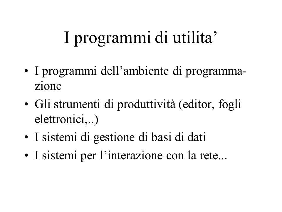 I programmi di utilita' I programmi dell'ambiente di programma- zione Gli strumenti di produttività (editor, fogli elettronici,..) I sistemi di gestione di basi di dati I sistemi per l'interazione con la rete...