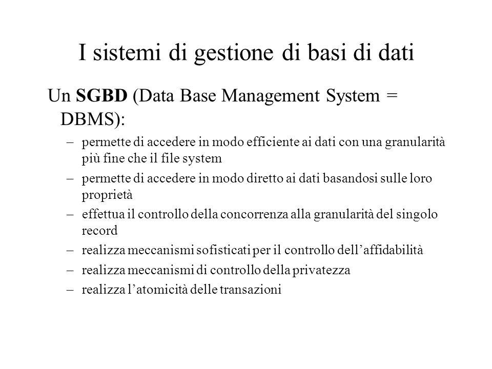 I sistemi di gestione di basi di dati Un SGBD (Data Base Management System = DBMS): –permette di accedere in modo efficiente ai dati con una granularità più fine che il file system –permette di accedere in modo diretto ai dati basandosi sulle loro proprietà –effettua il controllo della concorrenza alla granularità del singolo record –realizza meccanismi sofisticati per il controllo dell'affidabilità –realizza meccanismi di controllo della privatezza –realizza l'atomicità delle transazioni
