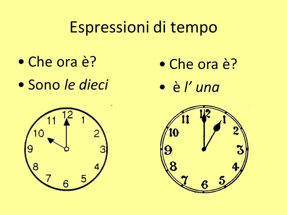 Espressioni di tempo Che ora è? Sono le quattro e mezzo Che ora è? Sono le tre e quarto