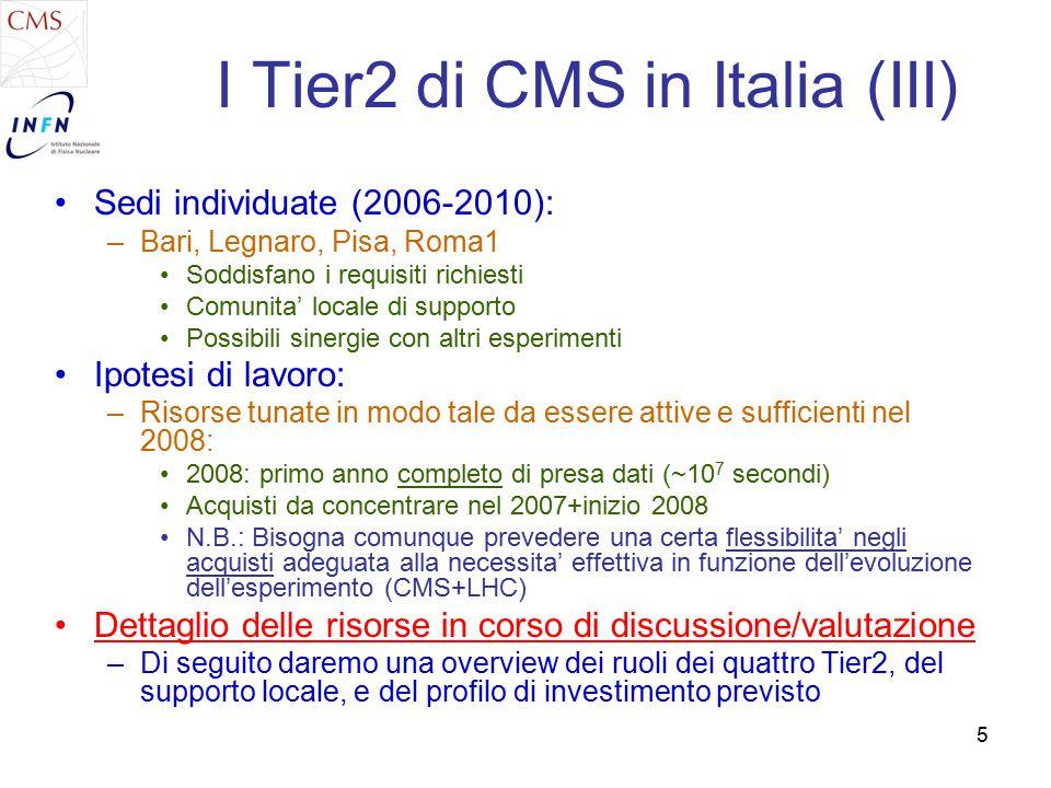 5 I Tier2 di CMS in Italia (III) Sedi individuate (2006-2010): –Bari, Legnaro, Pisa, Roma1 Soddisfano i requisiti richiesti Comunita' locale di supporto Possibili sinergie con altri esperimenti Ipotesi di lavoro: –Risorse tunate in modo tale da essere attive e sufficienti nel 2008: 2008: primo anno completo di presa dati (~10 7 secondi) Acquisti da concentrare nel 2007+inizio 2008 N.B.: Bisogna comunque prevedere una certa flessibilita' negli acquisti adeguata alla necessita' effettiva in funzione dell'evoluzione dell'esperimento (CMS+LHC) Dettaglio delle risorse in corso di discussione/valutazione –Di seguito daremo una overview dei ruoli dei quattro Tier2, del supporto locale, e del profilo di investimento previsto