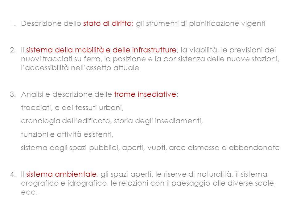 1.Descrizione dello stato di diritto: gli strumenti di pianificazione vigenti 2.Il sistema della mobilità e delle infrastrutture, la viabilità, le pre