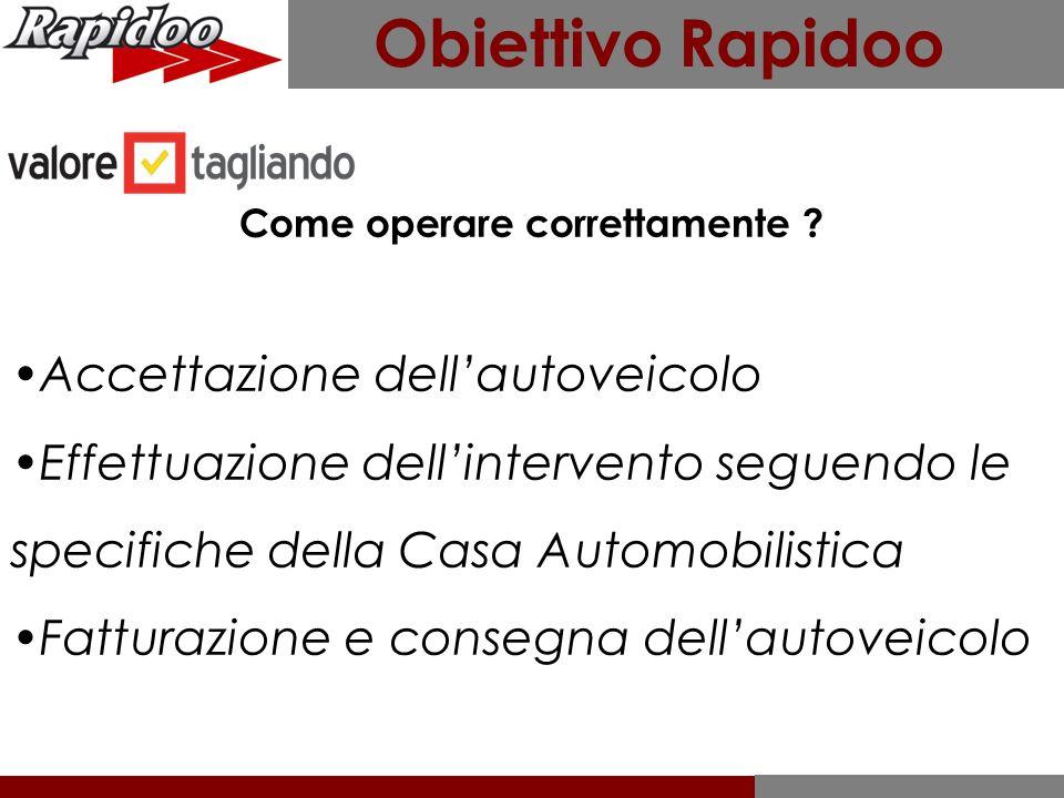 Obiettivo Rapidoo Come operare correttamente ? Accettazione dell'autoveicolo Effettuazione dell'intervento seguendo le specifiche della Casa Automobil