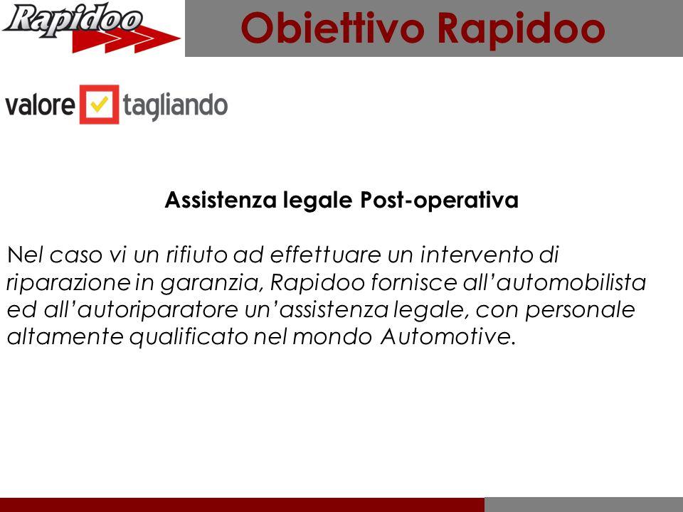 Assistenza legale Post-operativa Nel caso vi un rifiuto ad effettuare un intervento di riparazione in garanzia, Rapidoo fornisce all'automobilista ed
