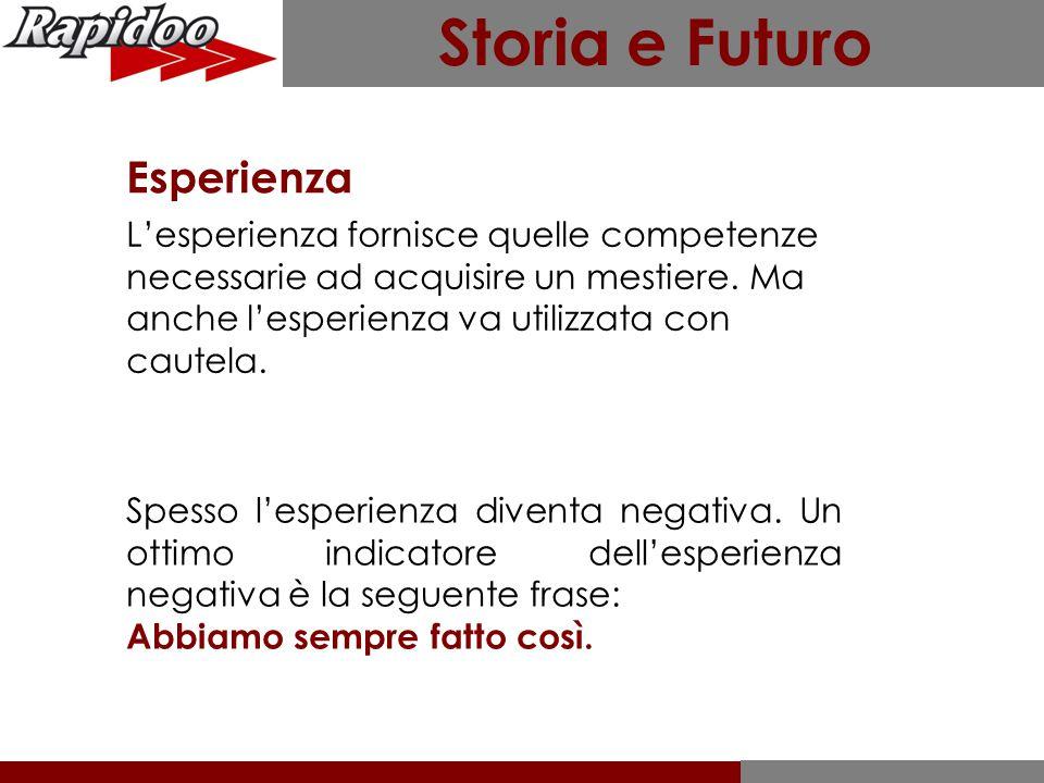 Storia e Futuro Esperienza L'esperienza fornisce quelle competenze necessarie ad acquisire un mestiere.