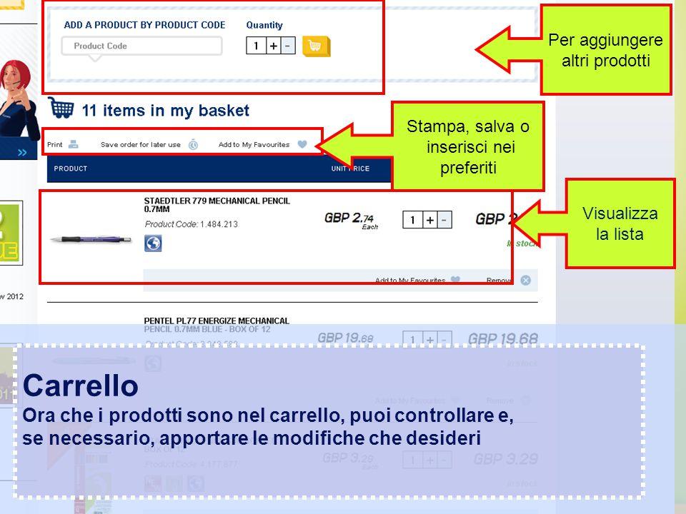 Confidential – graphic materials for illustration only Carrello Ora che i prodotti sono nel carrello, puoi controllare e, se necessario, apportare le