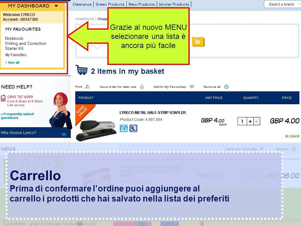 Confidential – graphic materials for illustration only Carrello Prima di confermare l'ordine puoi aggiungere al carrello i prodotti che hai salvato ne