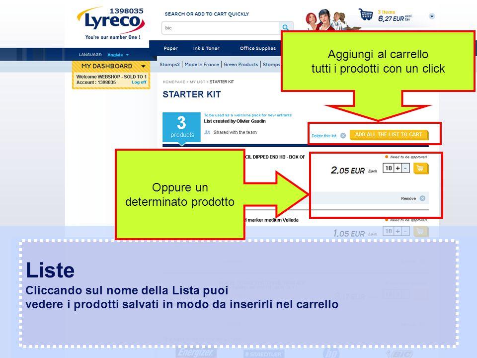 Confidential – graphic materials for illustration only Liste Cliccando sul nome della Lista puoi vedere i prodotti salvati in modo da inserirli nel ca
