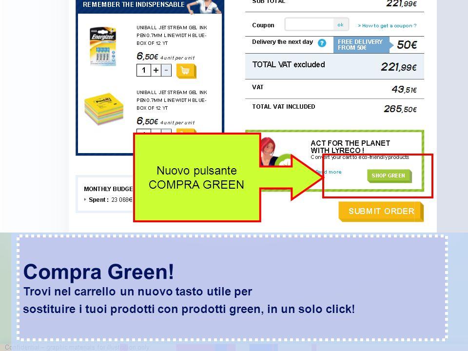 Confidential – graphic materials for illustration only Compra Green! Trovi nel carrello un nuovo tasto utile per sostituire i tuoi prodotti con prodot