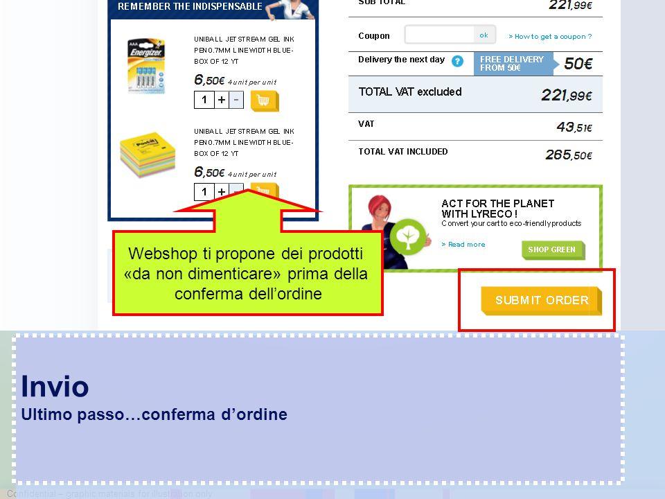 Confidential – graphic materials for illustration only Invio Ultimo passo…conferma d'ordine Webshop ti propone dei prodotti «da non dimenticare» prima