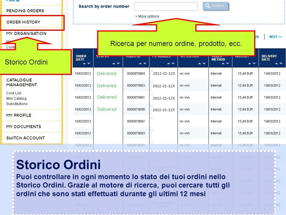 Confidential – graphic materials for illustration only Storico Ordini Puoi controllare in ogni momento lo stato dei tuoi ordini nello Storico Ordini.