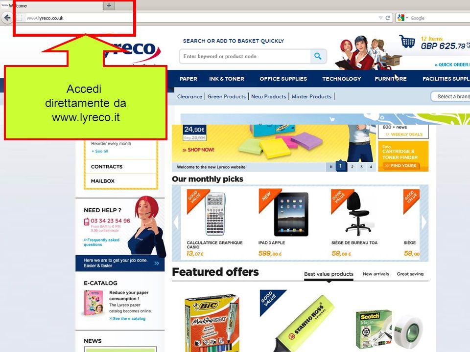 Confidential – graphic materials for illustration only Accedi direttamente da www.lyreco.it