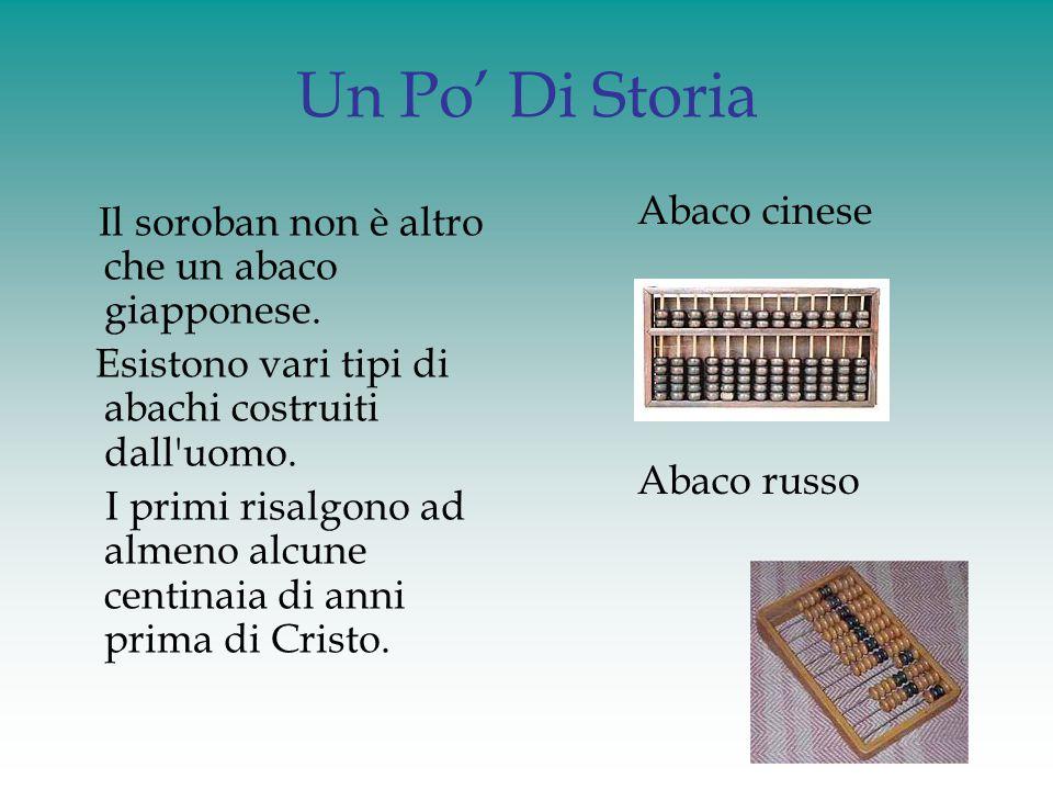 Abaco giapponese (soroban) Come tutti gli abachi anche il soroban ha una logica posizionale nel senso che le perline non valgono sempre la stessa quantità.