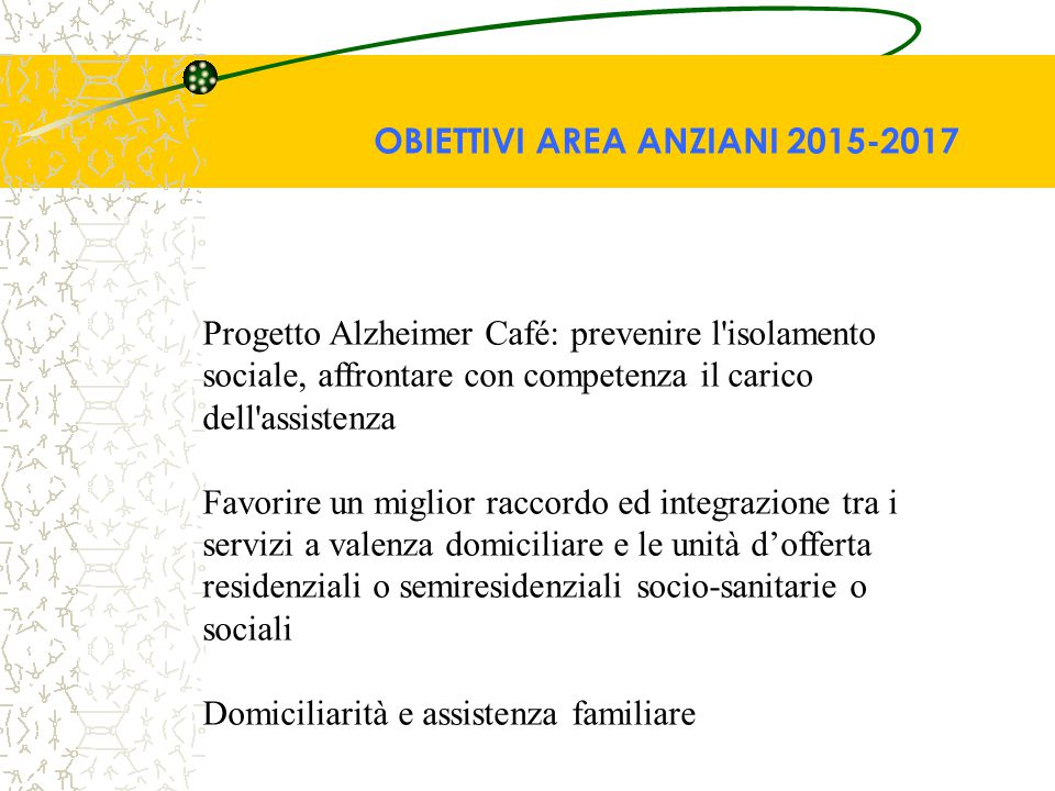 Progetto Alzheimer Café: prevenire l'isolamento sociale, affrontare con competenza il carico dell'assistenza Favorire un miglior raccordo ed integrazi
